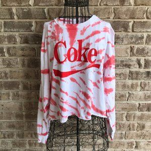 Coca Cola Coke Tie Dye Crop Top Red Juniors XXL 19